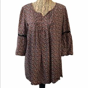 3/$30 Thyme Maternity Bell Sleeve Printed Top M